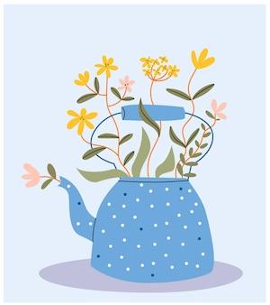 Blauwe theepot in een punt met wilde gele bloemen. leuke theepot met boeket bloemen.