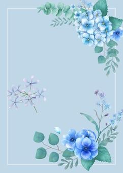 Blauwe themagroetkaart met miniatuurbladeren