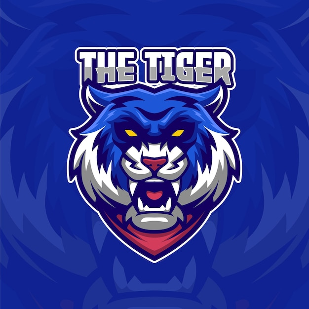 Blauwe tijger e-sport logo sjabloon
