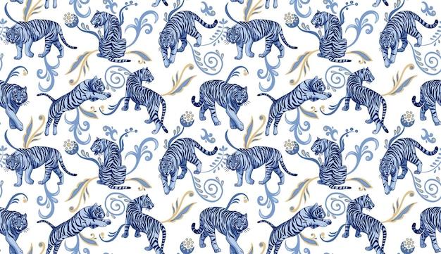 Blauwe tijgers met abstracte oosterse ornamenten vector naadloos patroon