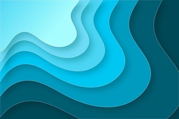 Blauwe tinten papier stijl golvende achtergrond