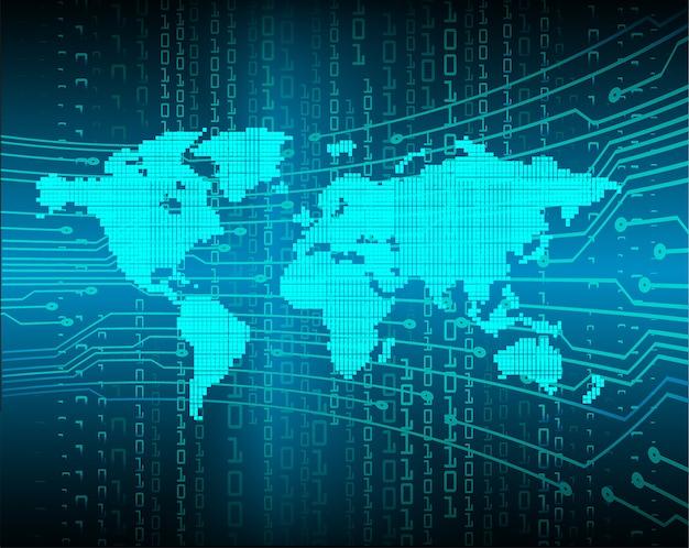 Blauwe toekomst cyber circuit toekomstige technologie achtergrond