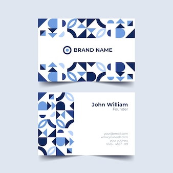 Blauwe tonen van geometrisch vormenvisitekaartje