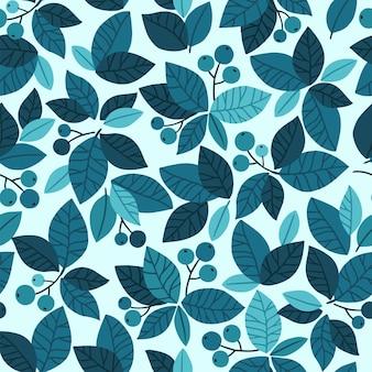 Blauwe trends bladeren en bessen elementen sjabloon. hand getekend