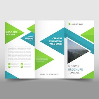 Blauwe trifold leaflet brochure sjabloon