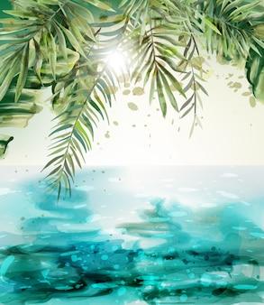 Blauwe tropische de kaartwaterverf van de kustzomer