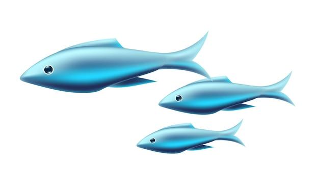 Blauwe tropische vissen ontwerp illustratie