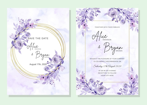 Blauwe trouwkaart met bloemen