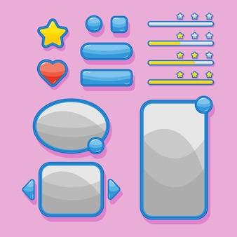 Blauwe ui-elementen voor game- en app-ontwerpvensters, voortgangsbalk en knoppen.