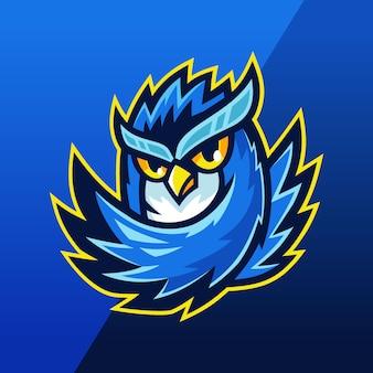 Blauwe uil esport team mascotte logo