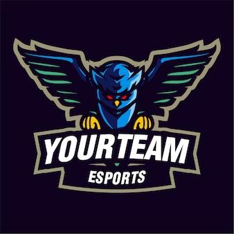 Blauwe uil mascotte gaming-logo