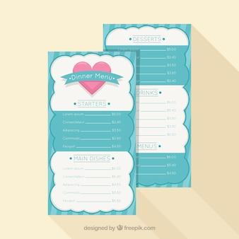 Blauwe valentijn menu concept