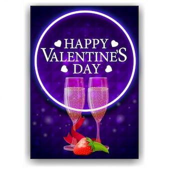 Blauwe valentijnsdag omslag met glazen champagne