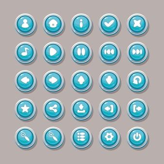 Blauwe vectorknoppen met pictogrammen voor het ontwerp van de game-interface