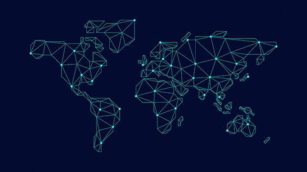 Blauwe veelhoekige wereldkaart