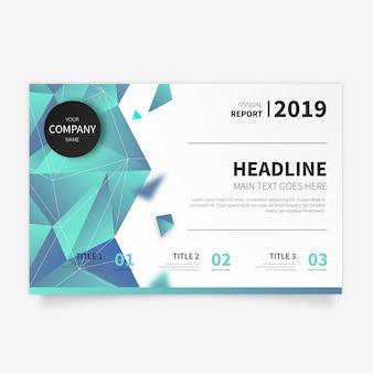 Blauwe veelhoekige zakelijke brochure