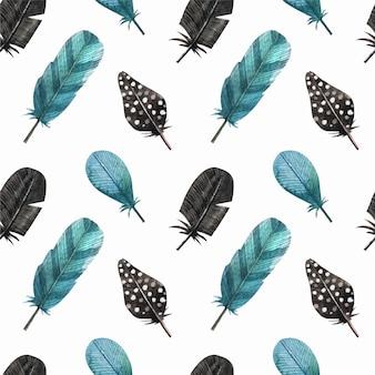Blauwe veren patroon achtergrond