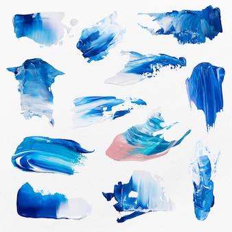 Blauwe verf veeg getextureerde vector penseelstreek creatieve kunst afbeeldingenset