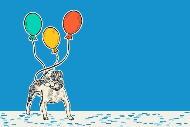 Blauwe verjaardag achtergrondrand met pitbull en ballonnen