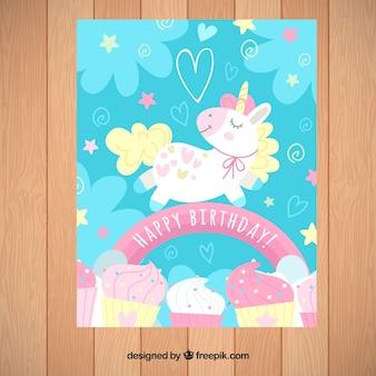 Blauwe verjaardag uitnodiging met een eenhoorn