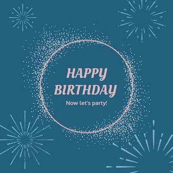Blauwe verjaardagsgroet sjabloon vector met burst vuurwerk illustratie