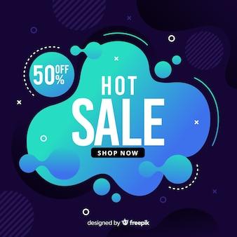 Blauwe verkoop vloeistof effect achtergrond