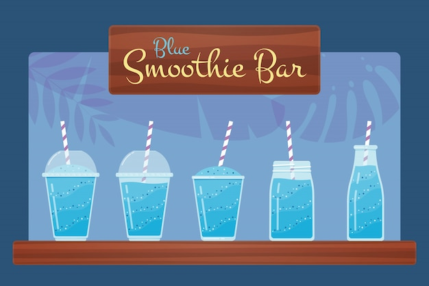 Blauwe vers fruit smoothie of cocktail set.