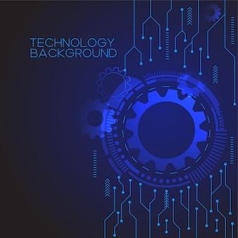 Blauwe versnelling technologie achtergrond