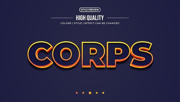 Blauwe vetgedrukte tekst met oranje omtrek en reliëfeffect