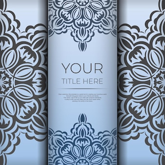 Blauwe vierkante ansichtkaarten met luxe zwarte patronen. uitnodigingskaartontwerp met vintage ornament.