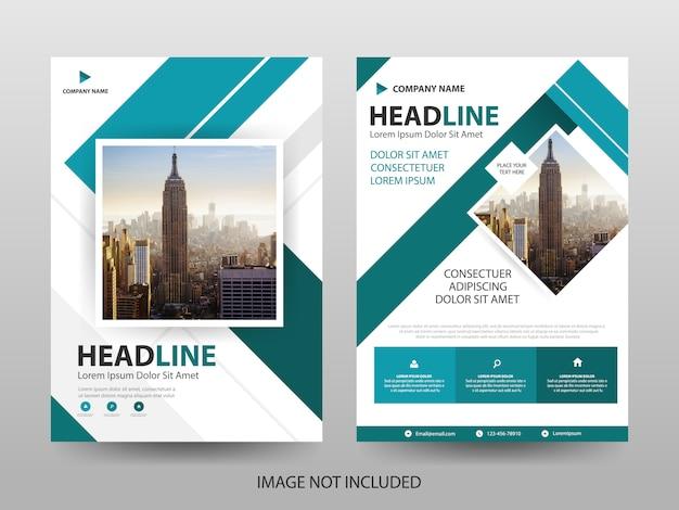 Blauwe vierkante zakelijke brochure folder voorbladsjabloon