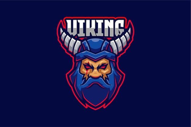 Blauwe viking e-sport logo sjabloon