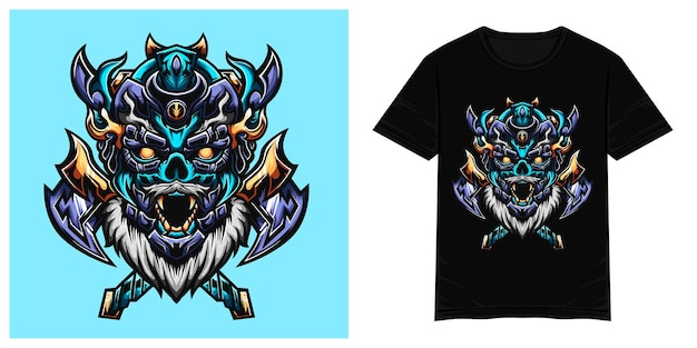 Blauwe viking prins vector tshirt illustratie