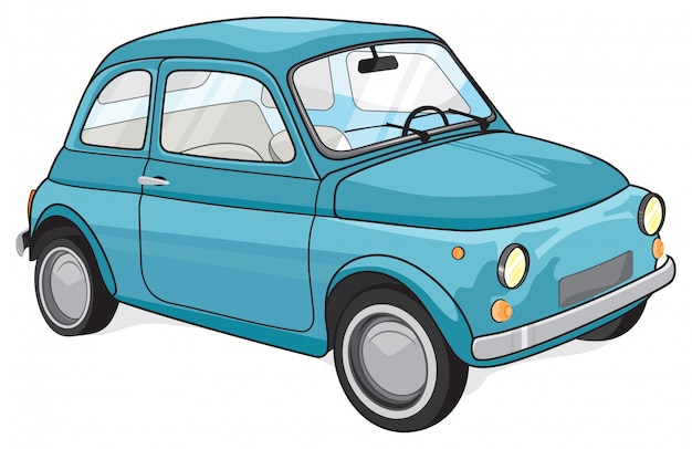 Blauwe vintage auto