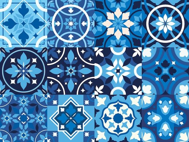 Blauwe vintage tegels