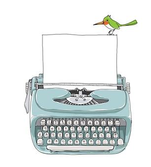 Blauwe vintage typemachine en groene vogel hand getrokken vector