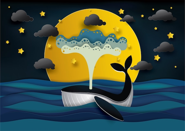 Blauwe vinvis en maan op mooi zeegezicht in nacht.