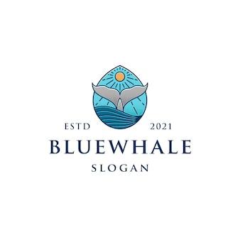 Blauwe vinvis kleurrijke logo sjabloon