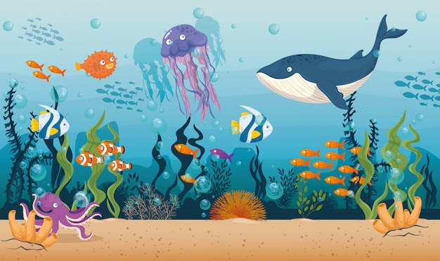 Blauwe vinvis met vissen en wilde zeedieren in de oceaan, zee wereldbewoners, schattige onderwater wezens, habitat mariene concept