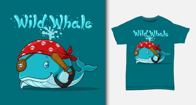 Blauwe vinvis piraat cartoon. met t-shirtontwerp.