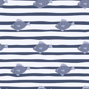 Blauwe vis doodle silhouetten naadloze patroon. gestripte achtergrond met witte lijnen. zee onderwater behang