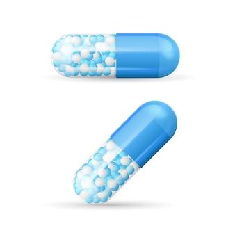 Blauwe vitaminepillen met korrels geneesmiddelen op recept capsule concept van gezondheidszorg. vector illustratie