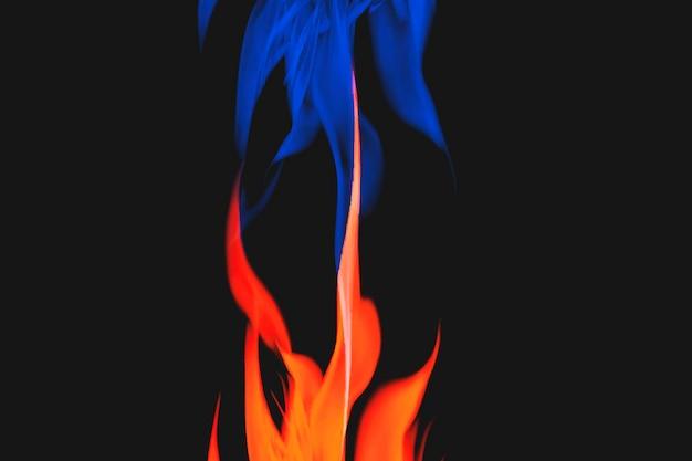 Blauwe vlamachtergrond, esthetische neonbrand vectorafbeelding