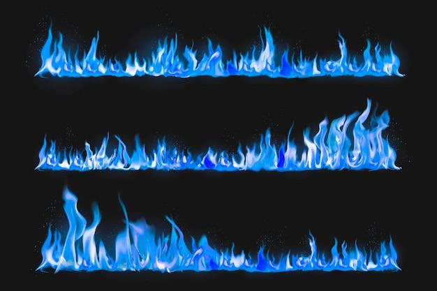 Blauwe vlamrandsticker, realistische vectorset voor vuurafbeeldingen