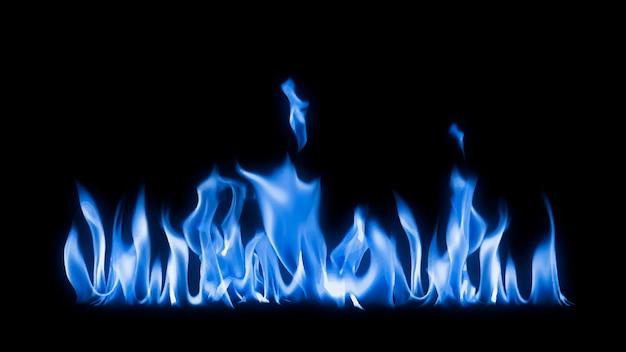 Blauwe vlamrandsticker, realistische vuurbeeldvector