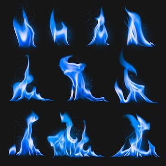 Blauwe vlamsticker, realistische vectorset voor vuurafbeeldingen