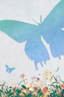 Blauwe vlinder silhouet schilderij achtergrond