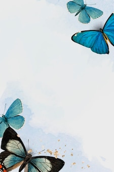 Blauwe vlinders patroon achtergrond vector