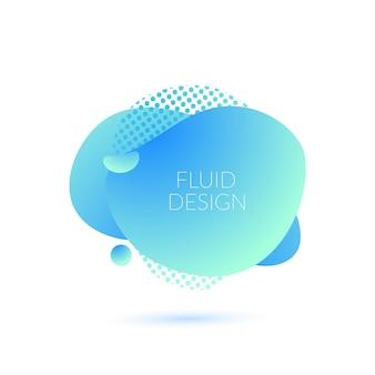 Blauwe vloeibare blob dynamische vloeibare vormen aqua moderne trendy poster