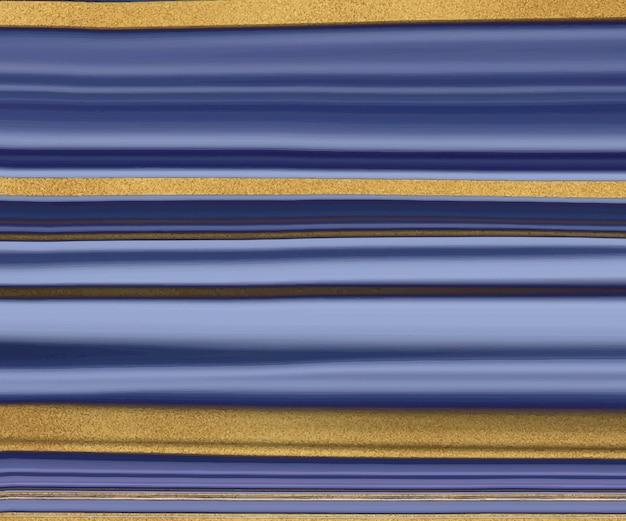 Blauwe vloeibare inkt met gouden glitter textuur.